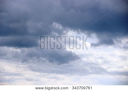 Blue Sky Covered With Gray Clouds. After The Rain. Cloudy Sky Background