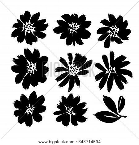 Stylized Brush Flowers Vector Set. Ink Drawing Flowers And Plants, Monochrome Artistic Botanical Ill