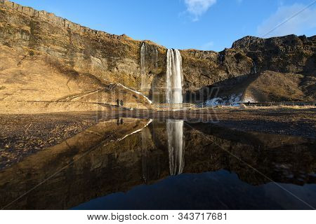 Seljalandsfoss Waterfall Is Located In The South Region In Iceland.