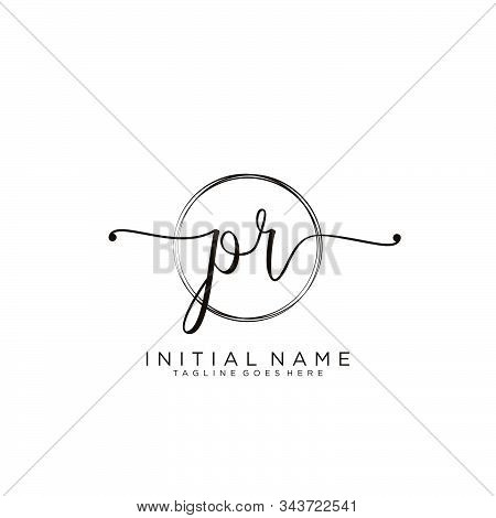Pr Initial Handwriting Logo With Circle Template Vector.