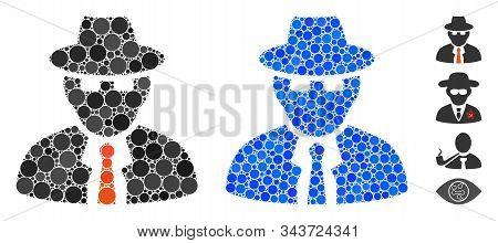 Spy Composition Of Small Circles In Different Sizes And Color Tints, Based On Spy Icon. Vector Rando