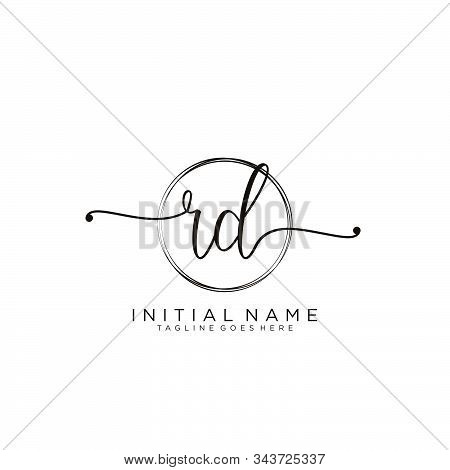 Rd Initial Handwriting Logo With Circle Template Vector.