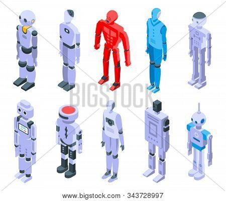 Humanoid Icons Set. Isometric Set Of Humanoid Vector Icons For Web Design Isolated On White Backgrou