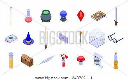 Wizard Tools Icons Set. Isometric Set Of Wizard Tools Vector Icons For Web Design Isolated On White