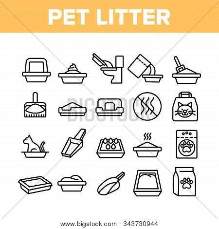 Pet Litter Accessory Collection Icons Set Vector Thin Line. Cat In Pet Litter, Animal Footprint On B