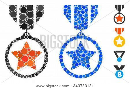 Army Medal Mosaic Of Small Circles In Variable Sizes And Shades, Based On Army Medal Icon. Vector Fi