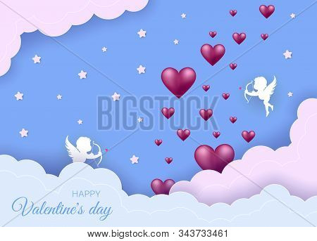 Valentines day concept. Valentines day background. Valentines day banner, clouds in the sky, stars, angels, red hearts. Heart origami mobile. Valentine, valentine day, Valentines Day background, Valentine's day banners, Valentines Day flyer, Valentines Da