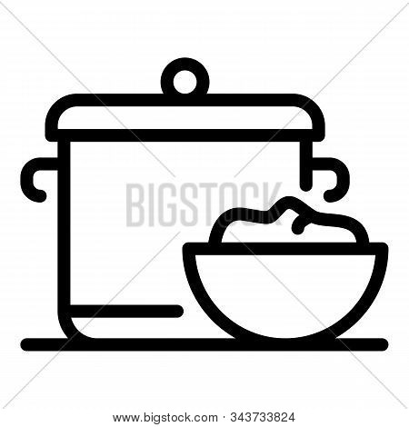 Saucepan Baby Food Icon. Outline Saucepan Baby Food Vector Icon For Web Design Isolated On White Bac