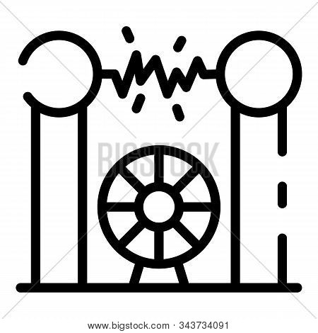 Electric Discharge Tower Icon. Outline Electric Discharge Tower Vector Icon For Web Design Isolated
