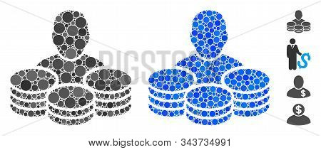 Rich Man Mosaic Of Filled Circles In Various Sizes And Color Tones, Based On Rich Man Icon. Vector F