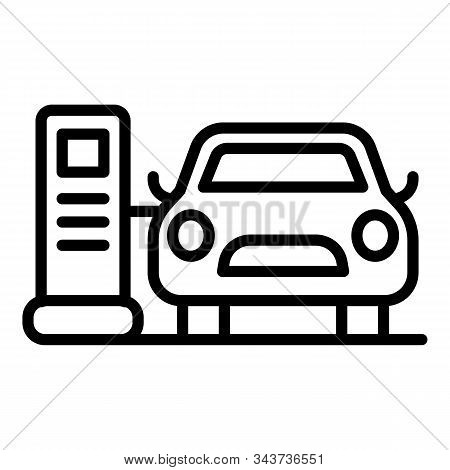 Car Electrical Refueling Icon. Outline Car Electrical Refueling Vector Icon For Web Design Isolated