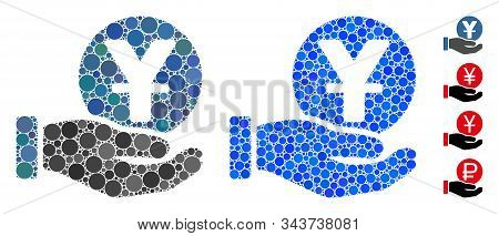 Yuan Coin Payment Hand Composition Of Round Dots In Various Sizes And Color Tones, Based On Yuan Coi