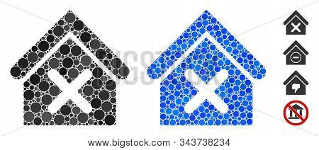 Wrong House Composition Of Round Dots In Various Sizes And Shades, Based On Wrong House Icon. Vector