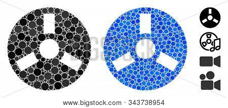 Bobbin Mosaic Of Round Dots In Variable Sizes And Shades, Based On Bobbin Icon. Vector Round Dots Ar