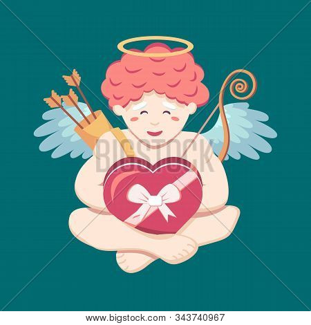 Cute Little Angel Cupid Is Happy With A Box Of Chocolates With A Ribbon And A Bow In His Hands. Cher