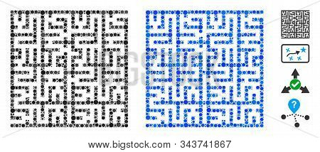 Labyrinth Mosaic Of Circle Elements In Variable Sizes And Color Tones, Based On Labyrinth Icon. Vect
