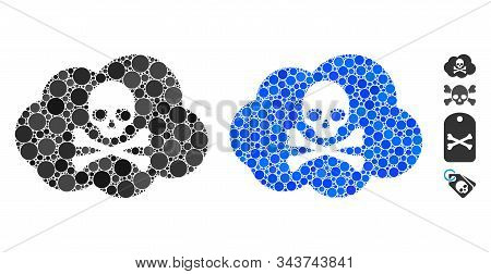 Toxic Smoke Composition Of Round Dots In Variable Sizes And Shades, Based On Toxic Smoke Icon. Vecto