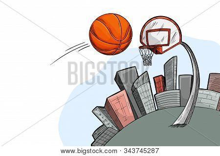 Streetball Urban Playground, Ball, City And Basket