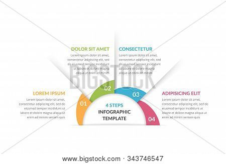 Circle Infographic Template With Four Steps Or Options, Process Chart, Vector Eps10 Illustration