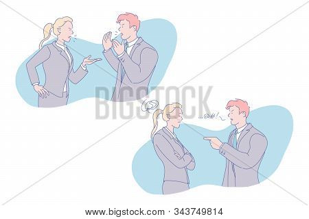 Business Conflict, Staff Rivalry, Contention Concept. Colleagues Quarrel, Employees Argument, Rowdy