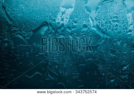 Water Texture Abstract Background, Aqua Drops On Turquoise Glass As Science Macro Element, Rainy Wea