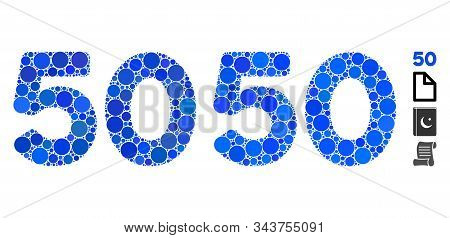 50 Digits Text Composition Of Circle Elements In Various Sizes And Color Tones, Based On 50 Digits T