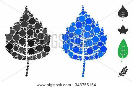 Birch Leaf Mosaic Of Small Circles In Various Sizes And Color Hues, Based On Birch Leaf Icon. Vector