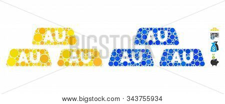 Gold Bullions Mosaic Of Filled Circles In Various Sizes And Color Tinges, Based On Gold Bullions Ico
