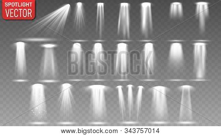 Set Of The White Spotlight Shines On The Stage, Scene, Podium.illuminated Spotlights For Web Design
