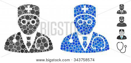 Physician Mosaic Of Round Dots In Different Sizes And Color Tints, Based On Physician Icon. Vector R