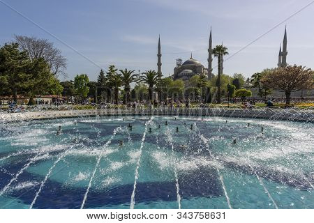 Istanbul, Turkey - April 29, 2019: People On The Square And Park In The Centre Of Istandbul With Gre