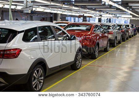 Russia, Izhevsk - December 14, 2019: Lada Automobile Plant Izhevsk. New Modern Cars Lada Ready For S