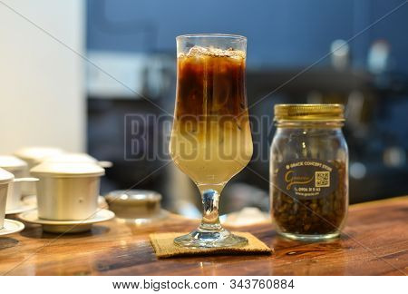 Saigon, Vietnam - Sep 22, 2019. Organic Coffee Drink (cold Specialty Coffee With Milk) At The Vintag