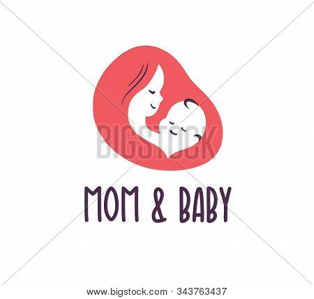 Mom And Baby Logo With Baby And Mother Face And Head Silhouettes Isolated On White Background. Baby