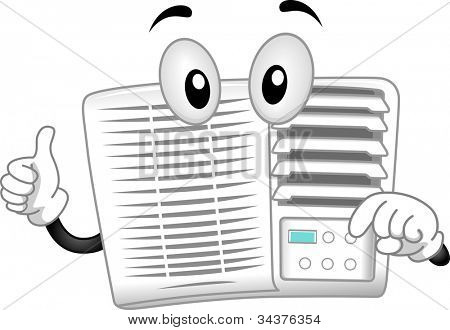 Mascot Illustration Featuring an Air-conditioner
