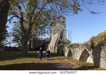 Visby, Sweden On October 12. View Of The Old City Wall Surrounding The Urban Area On October 12, 201