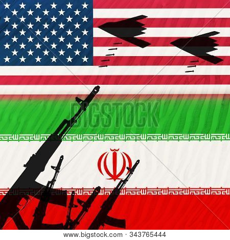 The Conflict Between The Two Countries Of The Usa And Iran. Us-iranian Relations. Confrontation Betw