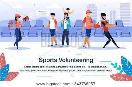 Welfare Sports Volunteering Trendy Flat Vector Banner, Poster Template. Female, Male Volunteers Help