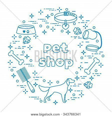 Vector Illustration Dog, Paw Tracks, Bone, Bowl, Collar, Leash On White Background. Pet Shop, Veteri