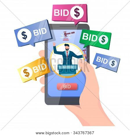 Auction Online Vector Concept For Web Banner, Website Page