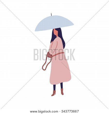 Young Female With Umbrella Flat Vector Illustration. Autumn Season, Rainy Day, Stroll Under Rain. Wo