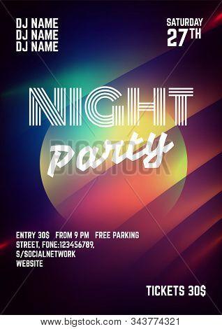 Black Flyer Template On Light Background.night Party Flyer.night Club Celebration.futuristic Neon Po