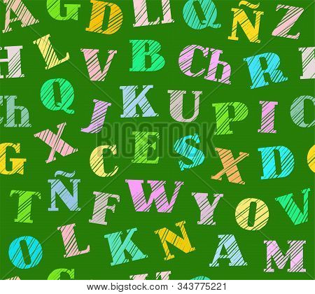 Spanish Alphabet, Seamless Pattern, Shading Pencil, Green, Colored, Vector. Spanish Alphabet. Shadin