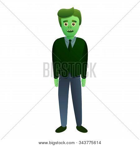 Elegant Zombie Man Icon. Cartoon Of Elegant Zombie Man Vector Icon For Web Design Isolated On White