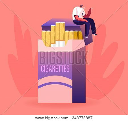 Unhealthy Habit, Smoking Nicotine Tobacco Addiction Concept. Tiny Male Character Sitting On Huge Cig