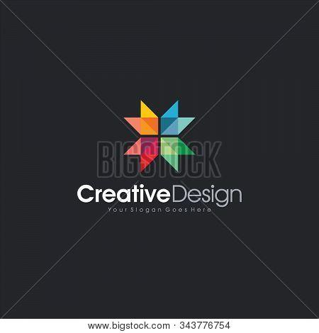 Icon Logo Design Full Color 4 Cube Abstract Logo Template Design Vector, Emblem, Design Concept, Cre