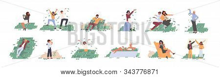 Rich People Flat Vector Illustrations Set. Financial Success, Lottery Win, Fortune, Good Luck Concep
