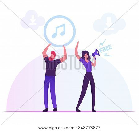 Free Download Services And Internet Content Piracy Concept. Woman Crying To Loudspeaker, Man Holding