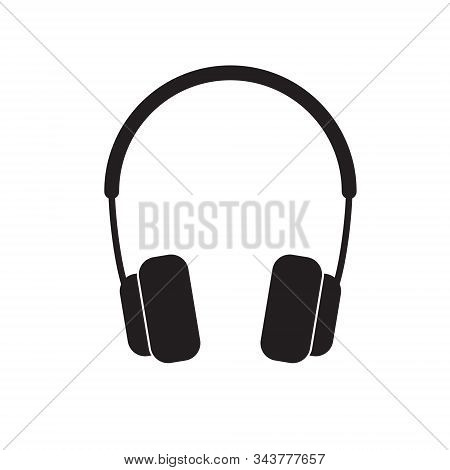 Headphone Icon Silhouette Black On White Isolated Background. Vector Image. Eps 10
