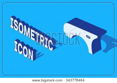 Isometric Car Fender Icon Isolated On Blue Background. Vector Illustration